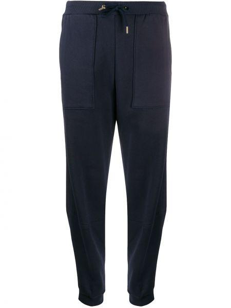 Хлопковые синие зауженные спортивные брюки в рубчик Stella Mccartney
