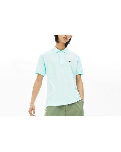 T-shirt bawełniana - turkusowa Lacoste