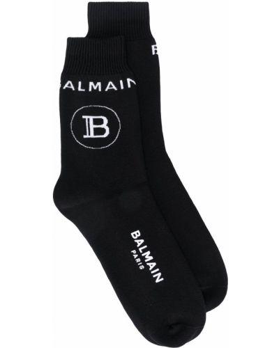 Хлопковые черные носки в рубчик Balmain