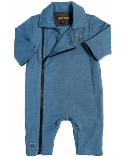 Z rękawami bawełna bawełna niebieski pajacyk Roberto Cavalli