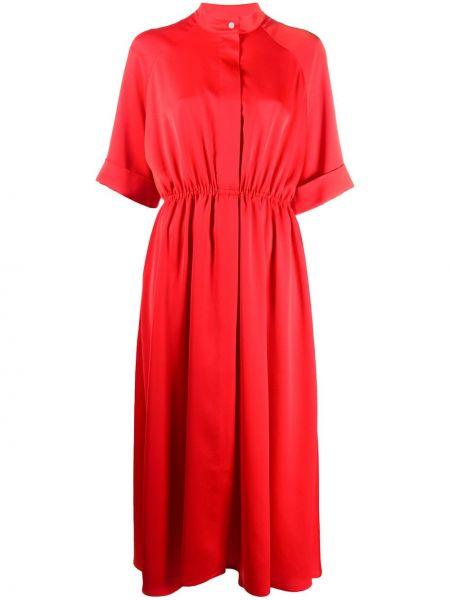 Расклешенное платье миди на пуговицах с воротником с рукавом реглан Mulberry