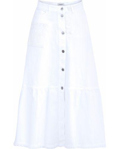 Джинсовая юбка в складку с вышивкой Valentino