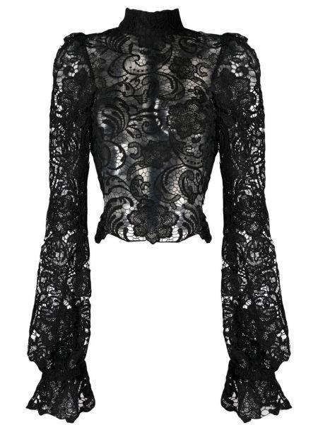 Czarna bluzka koronkowa z długimi rękawami Wandering