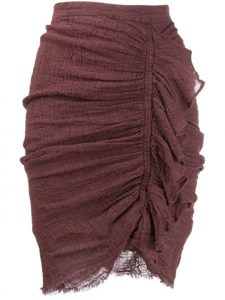Коричневая с завышенной талией юбка на молнии с декоративной отделкой Masscob