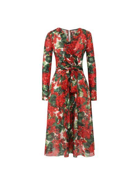 Платье с поясом с запахом с V-образным вырезом Dolce & Gabbana