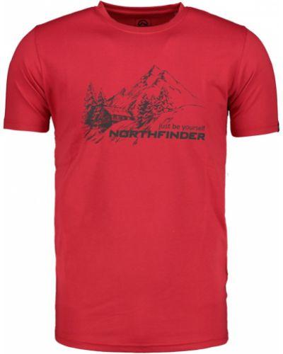 Czerwony t-shirt materiałowy na co dzień Northfinder