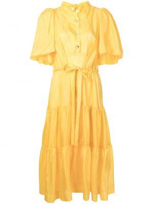 Желтое шелковое с рукавами платье миди Eudon Choi