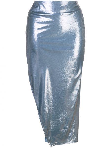 Синяя с завышенной талией юбка с разрезом на молнии Michelle Mason