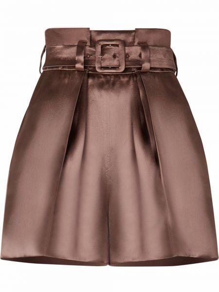 Коричневые шорты с завышенной талией Fendi