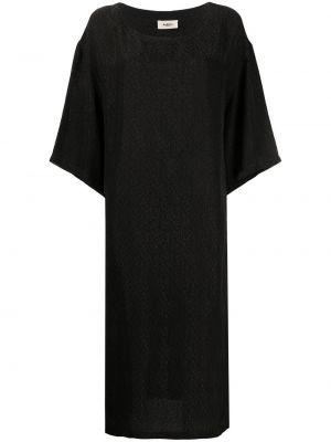 Черное платье миди с короткими рукавами с вырезом Barena