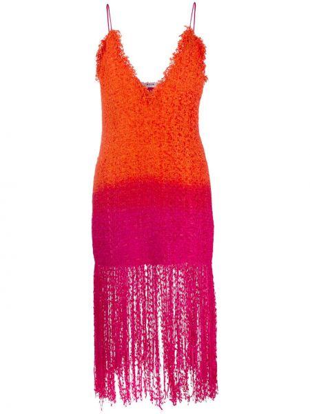 Платье миди с бахромой на бретелях Msgm