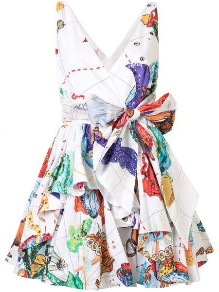 Белое расклешенное платье мини с V-образным вырезом без рукавов Stella Jean