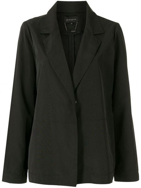Прямой черный удлиненный пиджак с вырезом Alcaçuz