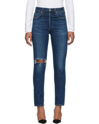Srebro jeansy do kostek z łatami z kieszeniami z prawdziwej skóry Citizens Of Humanity