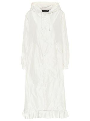 Белое пальто из плащевки с опушкой Undercover