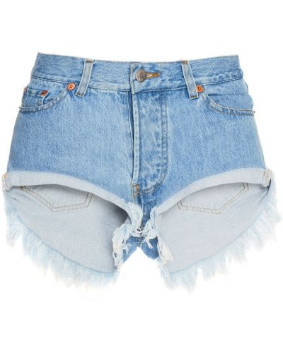 Хлопковые джинсовые шорты с бахромой на пуговицах Forte Couture