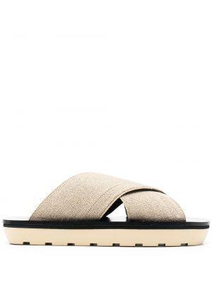 Beżowe sandały skorzane peep toe Proenza Schouler