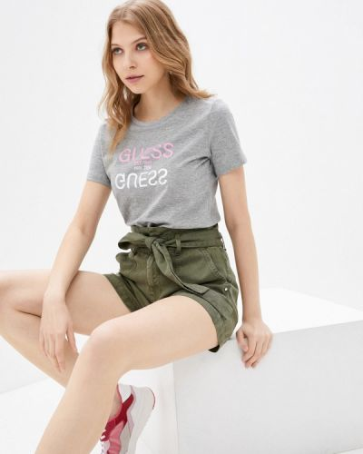Серая футболка с короткими рукавами Guess Jeans