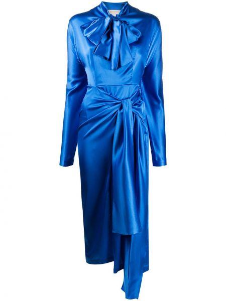 Асимметричное синее платье с рукавами с длинными рукавами с вырезом Matériel