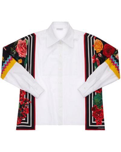 Biała koszula bawełniana z printem Dolce And Gabbana