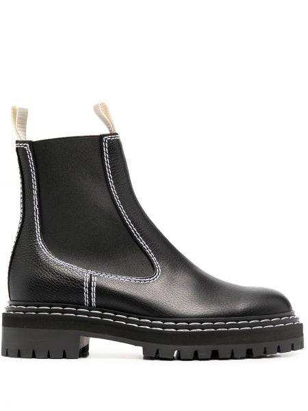 Skórzany czarny buty obcasy okrągły na pięcie Proenza Schouler
