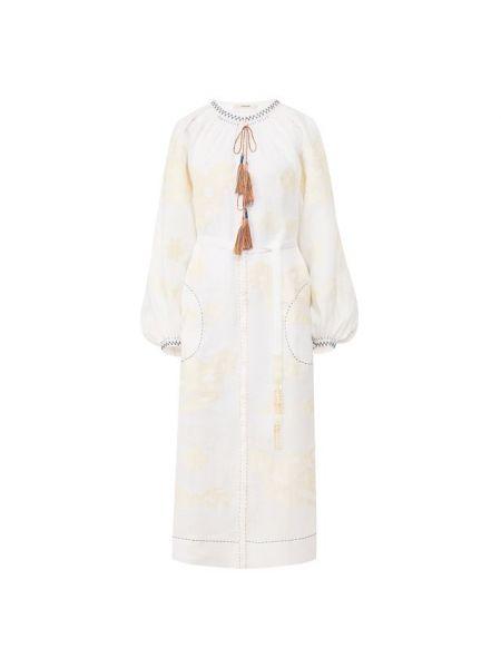 Льняное приталенное платье с вышивкой с драпировкой Vita Kin