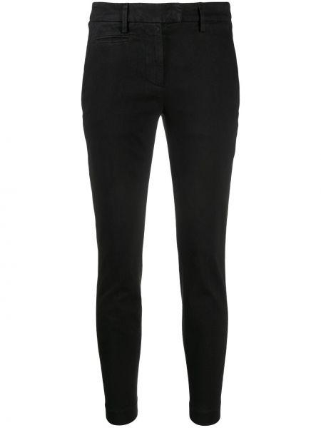 Хлопковые брючные черные укороченные брюки с поясом Dondup