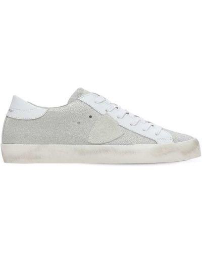 Кожаные кроссовки - серебряные Philippe Model