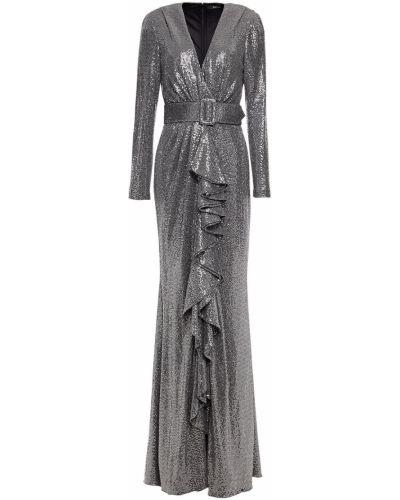 Sukienka z cekinami srebrna Badgley Mischka