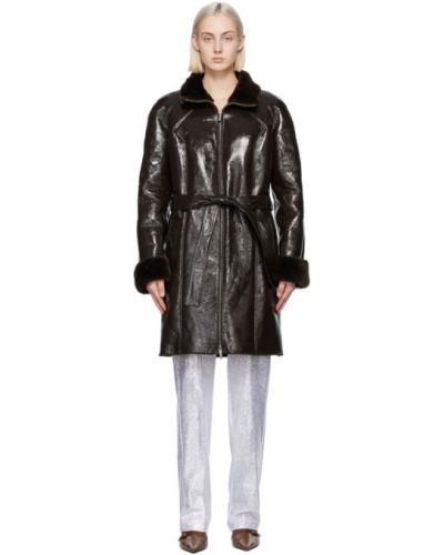 Коричневое длинное пальто с воротником двустороннее Saks Potts