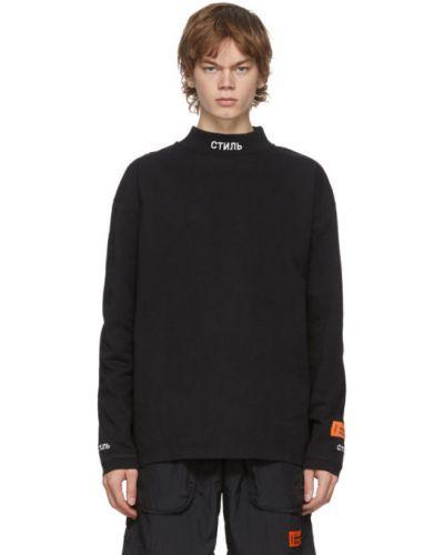 Bawełna czarny koszula z mankietami z haftem Heron Preston