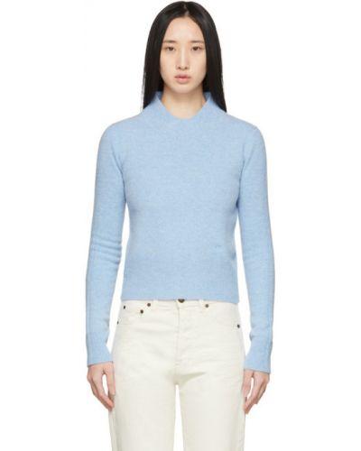 Синий шерстяной длинный свитер с воротником Victoria Beckham