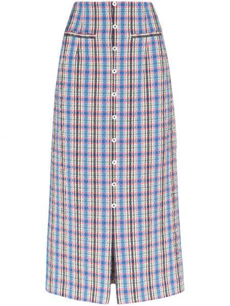 Синяя юбка миди букле на молнии с разрезом Rosie Assoulin