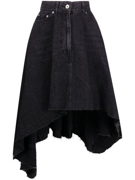 С завышенной талией черная джинсовая юбка с карманами Sacai