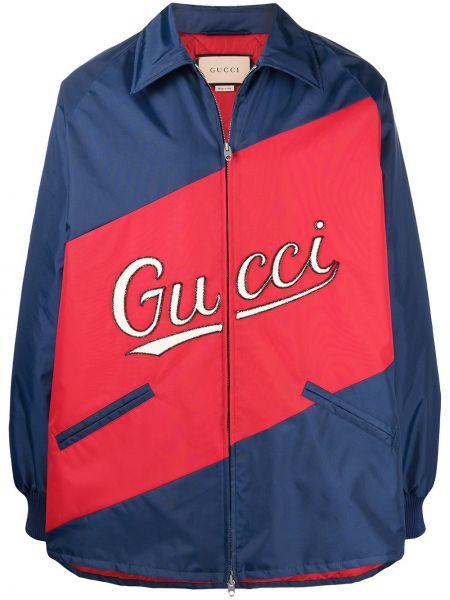 Niebieski bawełna z rękawami klasyczna koszula z haftem Gucci