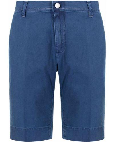 Niebieskie szorty chinosy bawełniane z paskiem Stefano Ricci