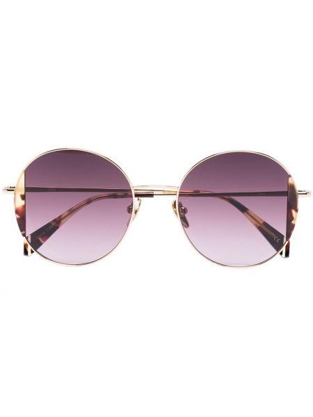 Прямые малиновые солнцезащитные очки круглые металлические Kaleos