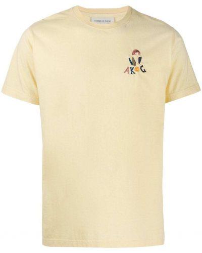 Хлопковая желтая футболка с вышивкой с круглым вырезом A Kind Of Guise