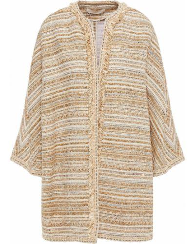 Бежевое пальто твидовое с карманами Vanessa Bruno