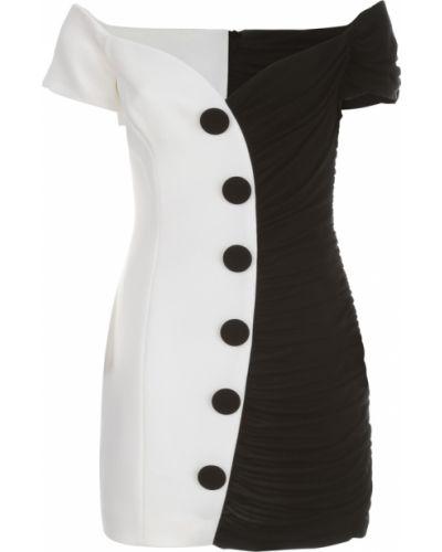 Biała sukienka midi krótki rękaw Balmain