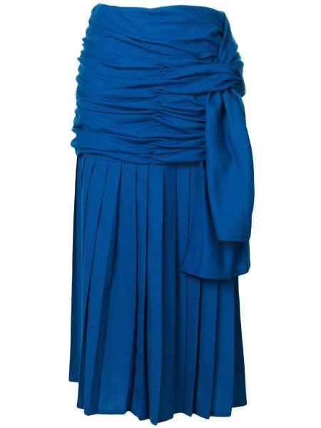 Синяя юбка миди винтажная в рубчик с драпировкой Versace Pre-owned