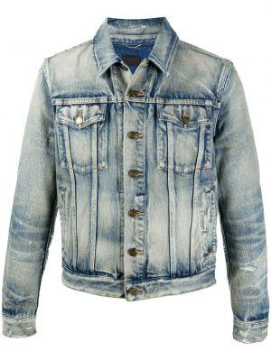 С рукавами синяя джинсовая куртка с воротником Saint Laurent