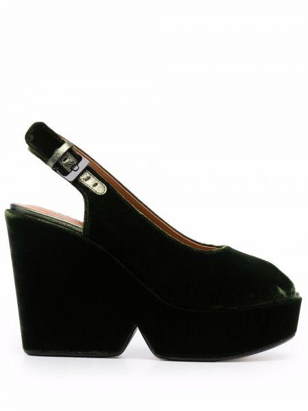 Zielone sandały zamszowe Clergerie