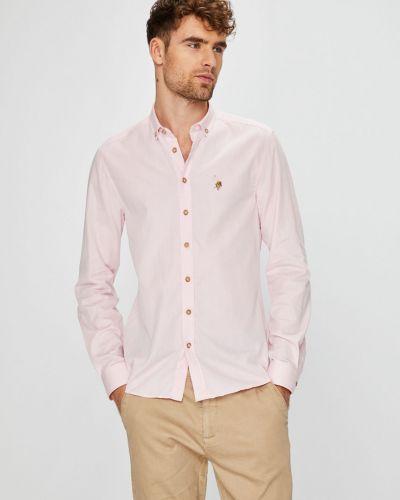 Рубашка с длинным рукавом однотонная хлопковая U.s. Polo