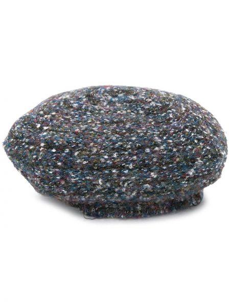 Шерстяная синяя шапка бини эластичная Rundholz