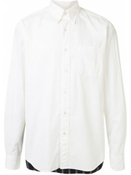 Белая рубашка с воротником пэчворк на пуговицах Sophnet.