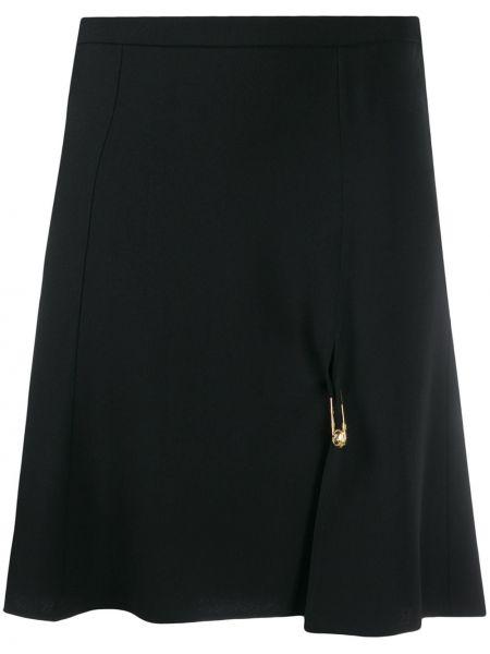 Черная юбка мини с разрезом на молнии из вискозы Versace