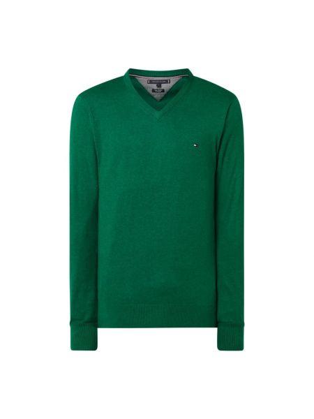 Prążkowany zielony z kaszmiru sweter Tommy Hilfiger