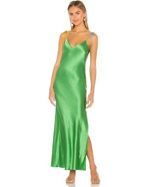 Satynowa zielona sukienka długa Dannijo