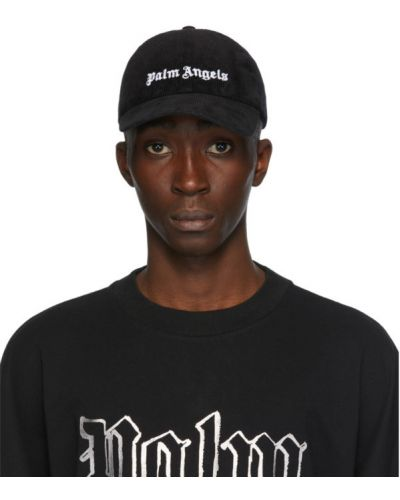 Czarna czapka z haftem srebrna Palm Angels